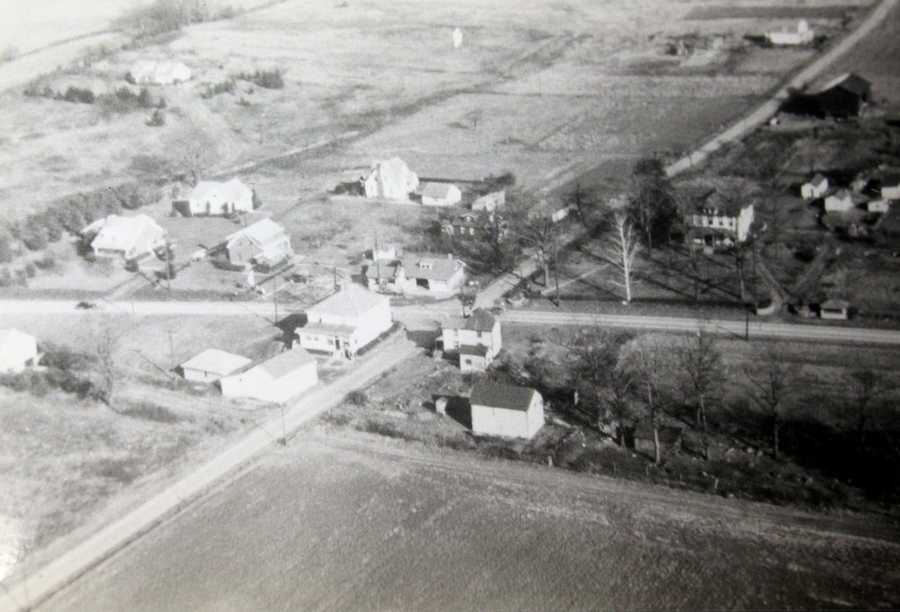 This is an aerial photo from Criders Corners from approximately 1940. For many years, Criders Corners was considered Cranberry Township's business district.