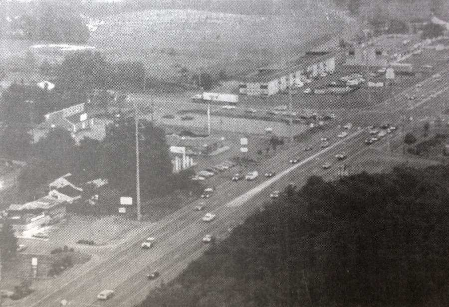 This is an aerial photo from Criders Corners after the 1950s, when Route 19 was built through the area and expanded into multiple lanes.