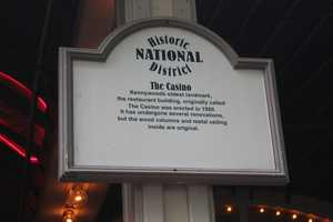 Several signs are located around the building describing the historic aspect of the Casino turned cafeteria.