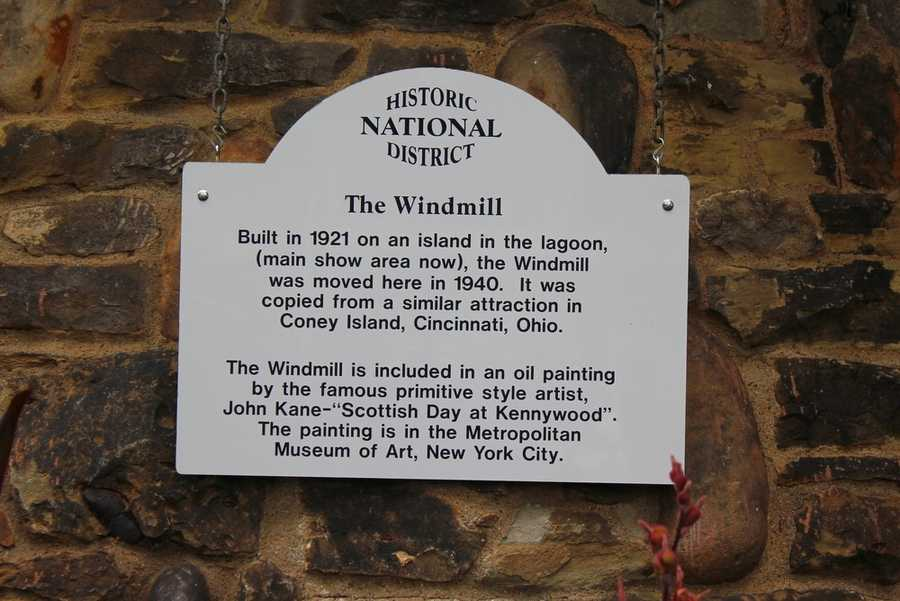 You can find this historical sign on the front of The Windmill today.  Look for it on the left as you first enter the park.