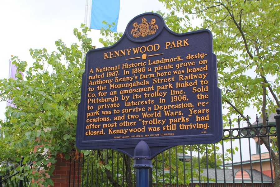 This historical marker greets visitors to Kennywood Park as they enter.  In 1898, the Monongahela Street Railways Company, seeking to increase fare profits on the weekends, leased the land in order to create a trolley park at the end of their line.