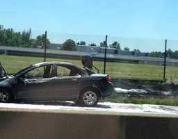 Car fire on Interstate 376 near Greensburg Pike