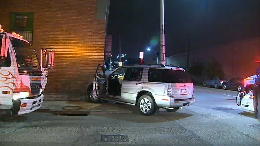 An SUV hit a building in the Strip District early Thursday morning.