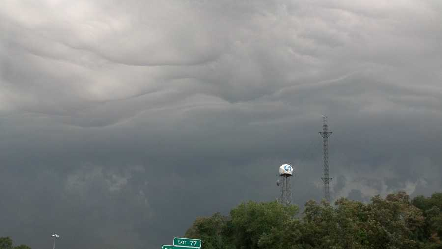 Dark clouds approach Channel 4's studios in Wilkinsburg.