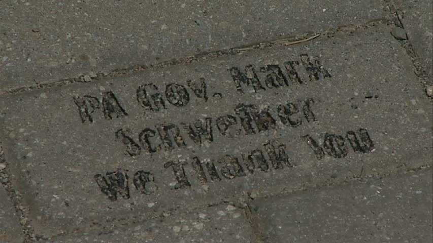 A brick dedicated to former Pa. Gov. Mark Schweiker