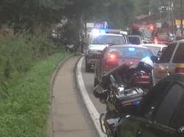 Steubenville Pike crash. (Damaged car on left, off road.)