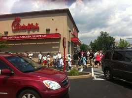 Customers line up at a Chick-fil-A restaurant in Monroeville