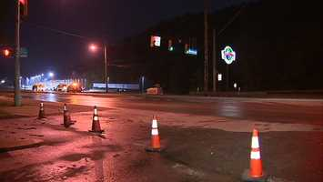 Old William Penn Highway was closed at Route 22 because a 12-inch water main broke early Friday morning.