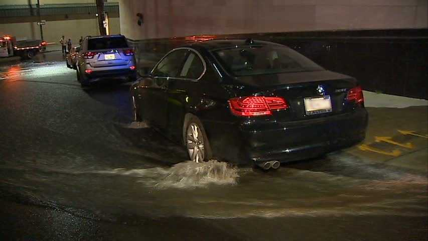 Water from a broken main gushed down Watson Street and onto Boyd and Diamond streets in Uptown Pittsburgh.