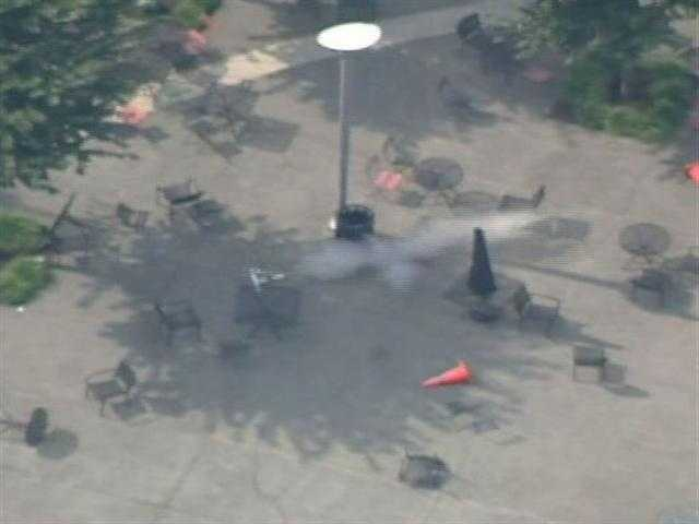 The suitcase was detonated by police. Sky 4 showed the smoky scene.