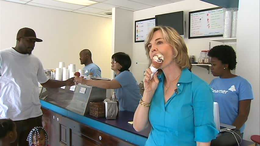 Sally Wiggin enjoys an ice cream cone at the Dream Cream Ice Cream shop.