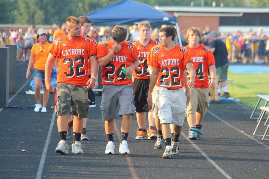 Members of the Latrobe High School football team get to experience practice with the Steelers each year. They also help out with getting things setup each year.Did you take any photos at training camp? Share them with us by clicking here or e-mailing ulocal@wtae.com.  You can see viewer photos by clicking here.