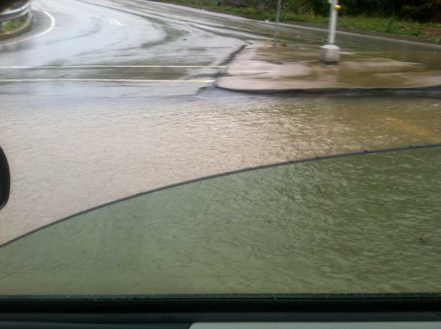 Pleasant Hills police block this flooded road.