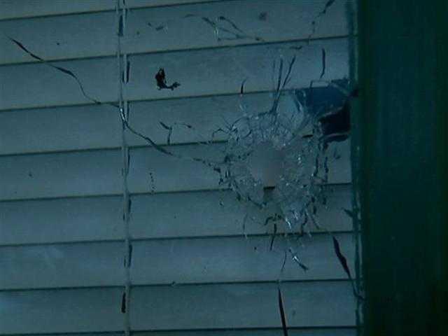 Broken glass in the window.