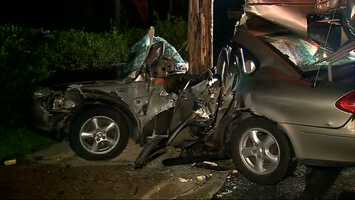 Two people left a crash early Friday morning, leaving a third person in critical condition in the wrecked car twisted around a utility pole.