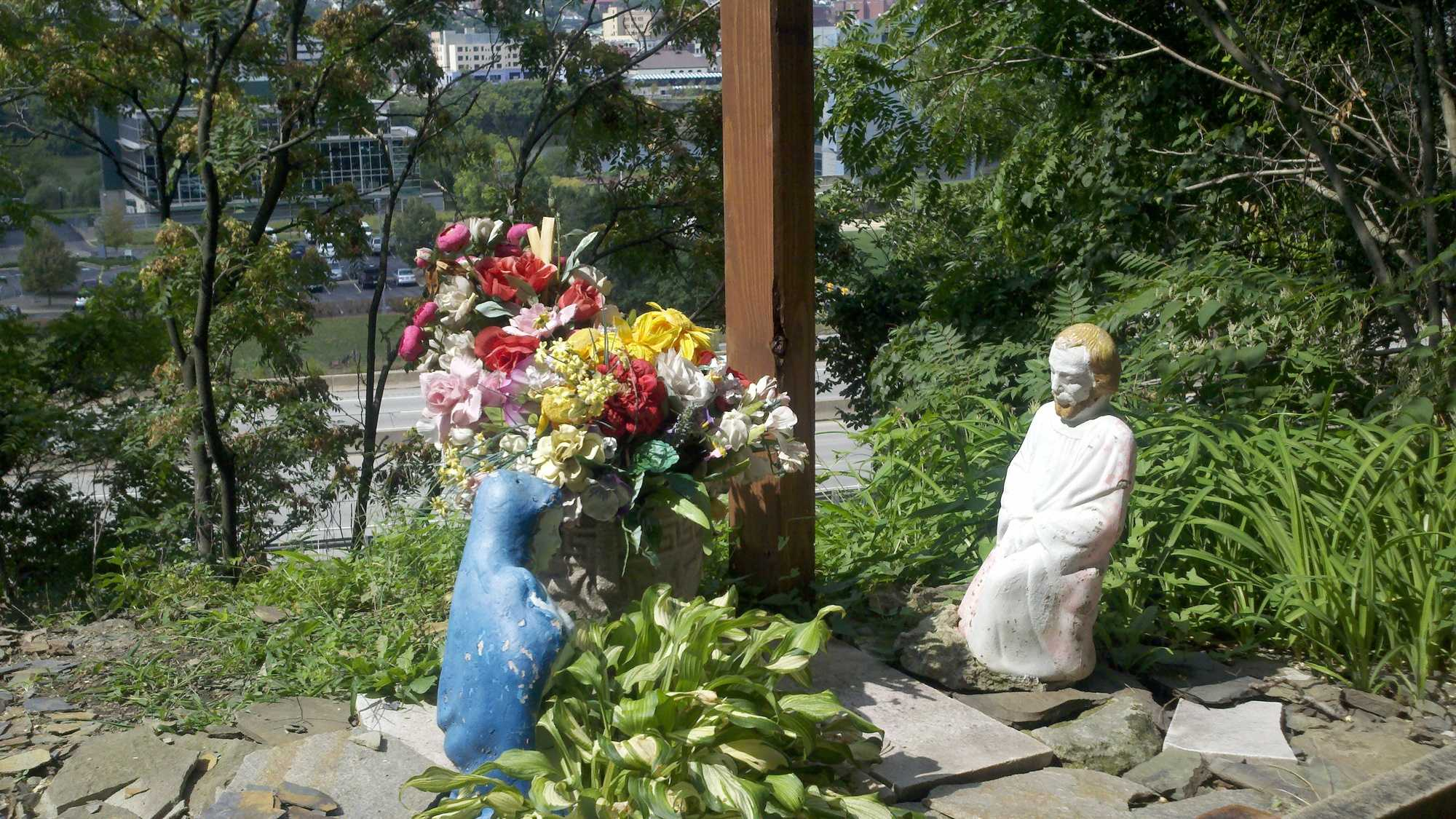 Over the years, the shrine has grown as people have stopped by and dropped off their own religious items.