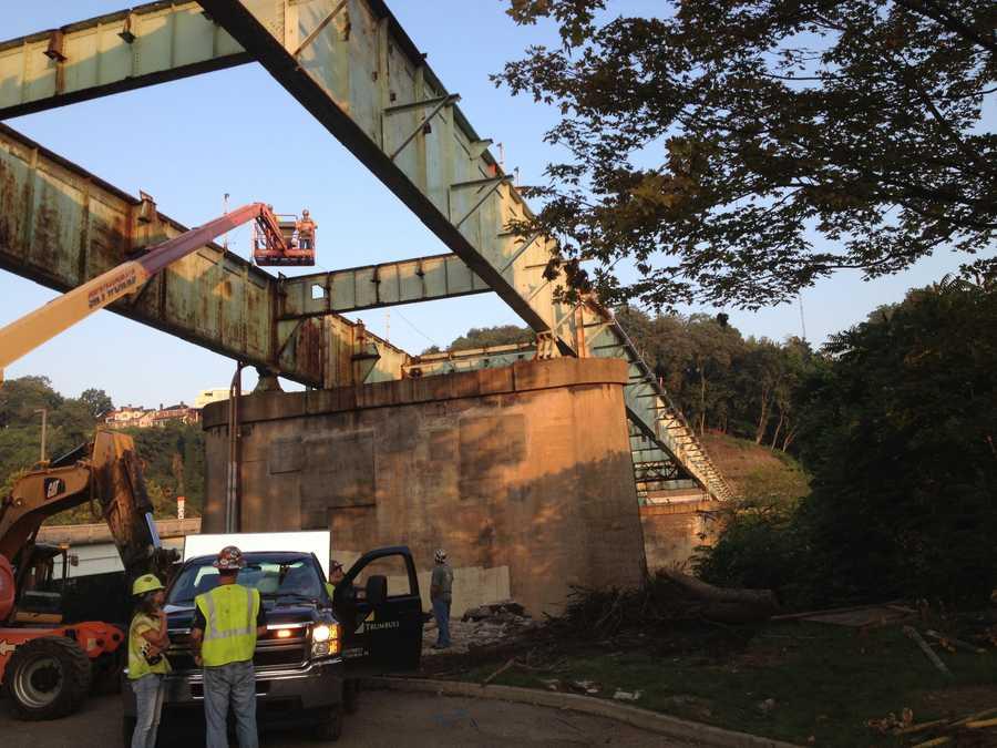 Final preparations were made below the bridge.