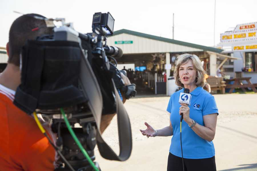 Channel 4 Action News anchor Sally Wiggin during a live report at the Westmoreland Fair