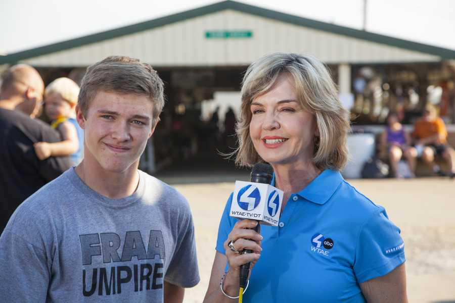 Westmoreland Fair competitor Nate Painter with Channel 4 Action News anchor Sally Wiggin