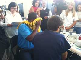 Channel 4 Action News anchor Andrew Stockey got one too. (A Terrible Towel comes in handy to hide from a needle.)