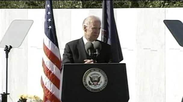 Vice President Joe Biden speaks at the 11th anniversary of the Flight 93 terrorist attack in Shanksville.