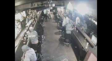 This is when the gunshots were fired at the bar from outside.