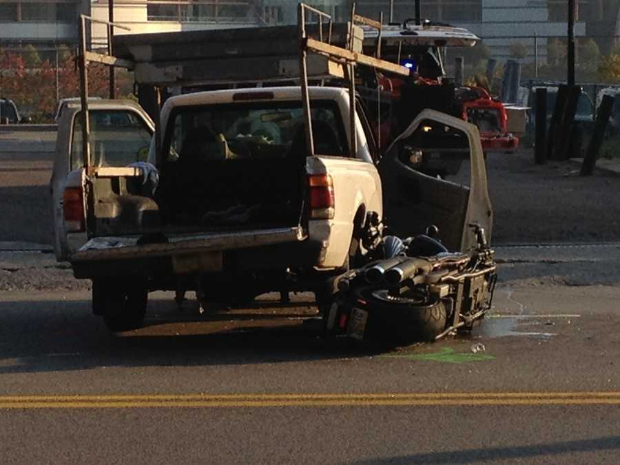 A motorcycle driver was injured in a crash with a pickup truck Thursday morning in the West End of Pittsburgh.