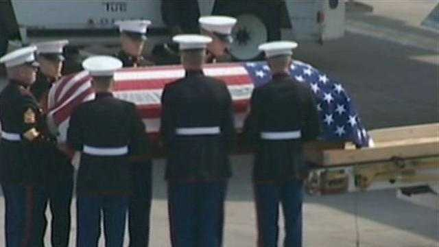 A casket with the remains of Marine Cpl. John Yeager.