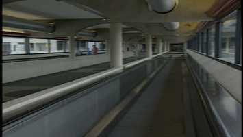 The People mover helps transport passengers from the parking lot to the terminals of Pittsburgh International Airport, 1992