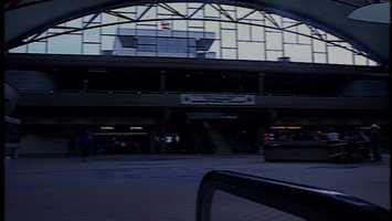 Final preparations inside Pittsburgh International Airport, 1992