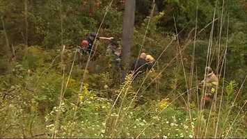 A state police helicopter was sent airborne to help a rescue team find the man in some woods behind Bradford Square Drive in .