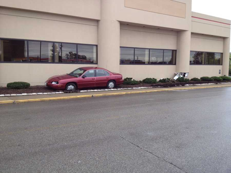 A car sideswiped the PNC Bank branch in the Miracle Mile Shopping Center in Monroeville.