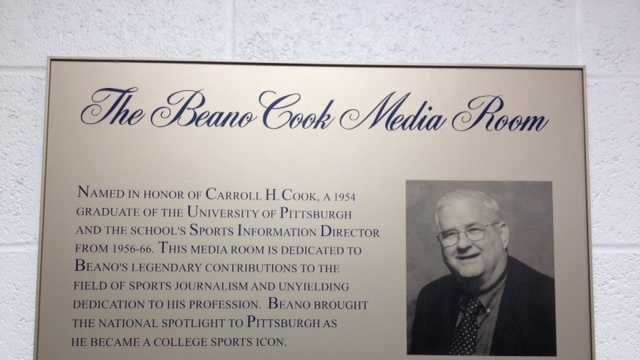 The Beano Cook Media Room in Pitt's campus arena, the Petersen Events Center.