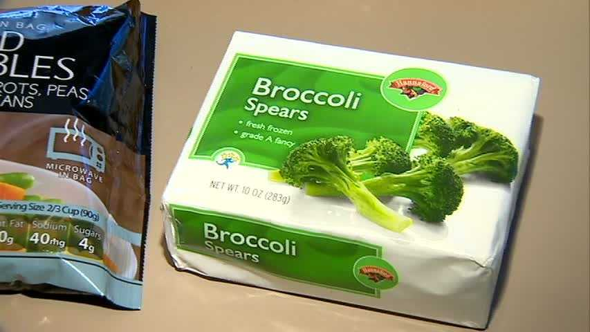 This 10 oz. package of generic brand broccoli costs 95 cents at Bottom Dollar