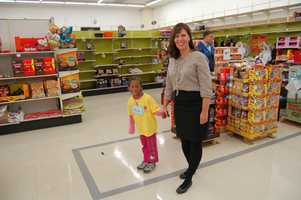 Producer Connie Stewart with her little shopping buddy.
