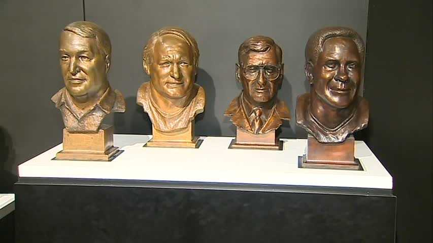 From left to right: Chuck Noll, Mike Webster, Dan Rooney and Lynn Swann