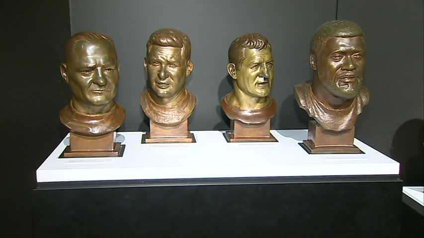 From left to right: Bert Bell, Bobby Layne, Ernie Stautner and Joe Greene