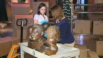 The Steelers Hall of Fame busts arrive at the Heinz History Center