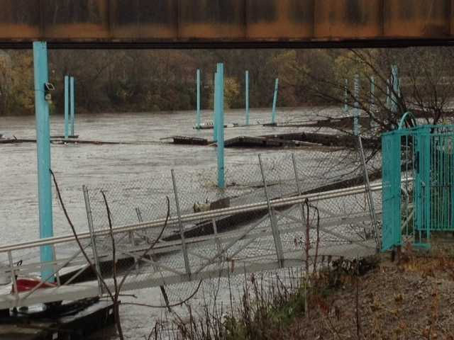 A dock broke loose on the Yough River in McKeesport. No boats were lost.