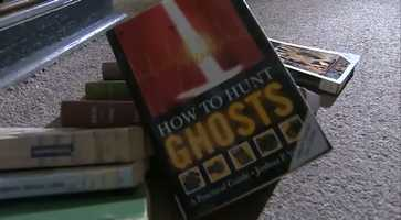 Ironically, a book about ghosts was at the top of the pile.