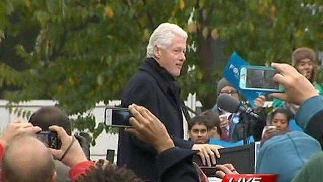 Bill Clinton stumps for President Barack Obama in downtown Pittsburgh's Market Square