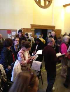 Franklin Park voters found long lines at St. Brendan's Church.