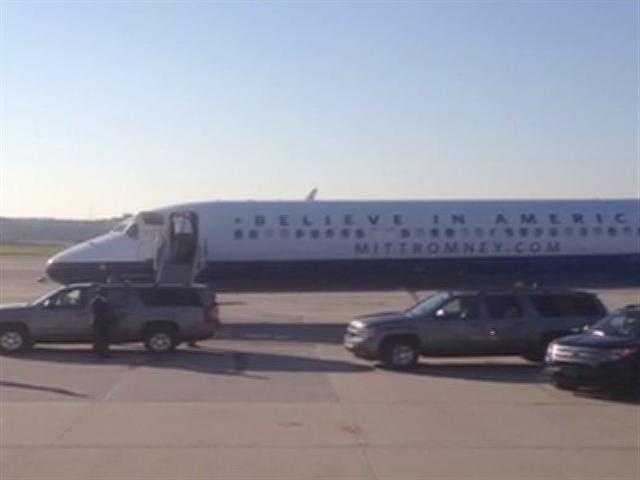 Republican presidential nominee Mitt Romney lands in Pittsburgh for a last-minute campaign stop on Election Day.