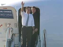 Republican presidential nominee Mitt Romney exits his plane at Pittsburgh International Airport on Election Day