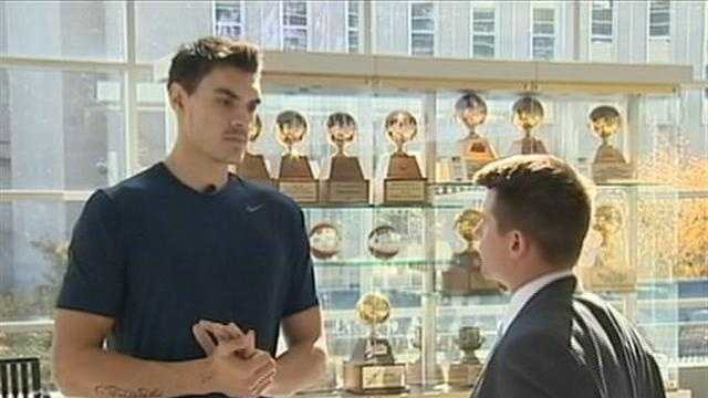 Pitt's Steven Adams with Action Sports' John Meyer