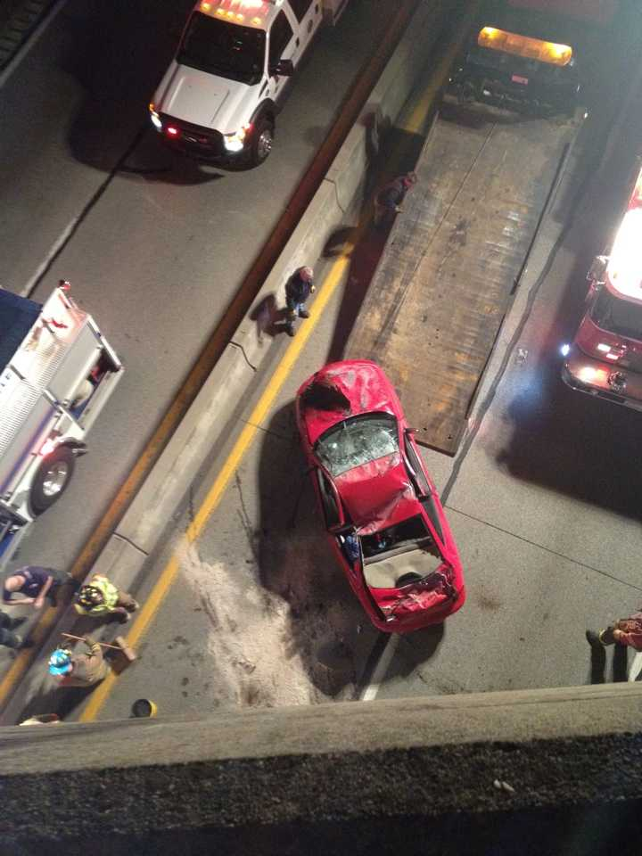 """Four teenagers were flown to Pittsburgh hospitals after a violent car crash on Route 40 in Brownsville, Fayette County. WTAE viewer """"Tabi Mc"""" shared these photos."""
