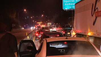 Three vehicles were involved in an early morning chain-reaction crash on the Parkway East, near the Squirrel Hill Tunnels.