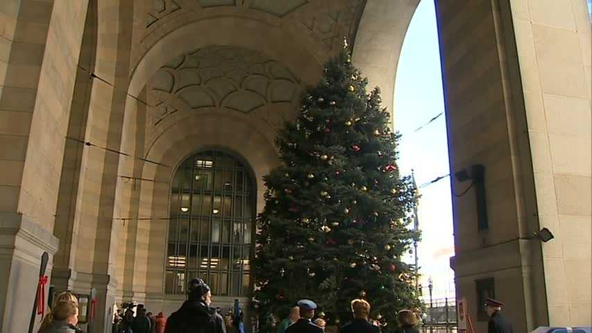 The holiday tree at the City-County Building in downtown Pittsburgh.