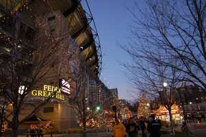 Heinz Field all decorated in lights for the holiday season