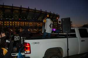 These tailgaters brought their own DJ and light show!